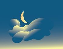 Radiant Moon. Cresent moon sleeping among the glowing clouds Vector Illustration