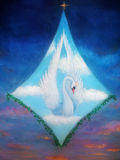 Radiant queen of the swans up in the skies in white clouds, beautiful detailed oil painting on canvas. Stock Images