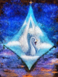 Radiant queen of the swans up in the skies in white clouds, beautiful detailed oil painting on canvas original painting Stock Image