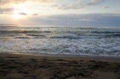 Radiant sea beach sunrise. In Kiten, Bulgaria royalty free stock photography