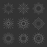 Radiant sunburst lineart design icons set template vector illustration Stock Photography