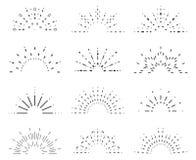Radiant sunrise lineart design icons set template vector illustration Royalty Free Stock Photo