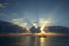 Radiant sunset on the sea. India ocean royalty free stock image
