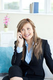Radiant woman on phone Royalty Free Stock Photography
