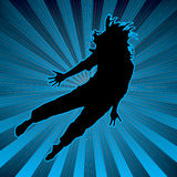 Radiate activeclub. Colorful background with a youthful person doing an dance on top Royalty Free Stock Photo