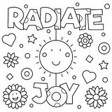 Radiate joy Coloring page. Vector illustration. Radiate joy. Coloring page. Black and white vector illustration Stock Image
