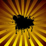 Radiate modern spalt. Exploding yellow background with an ink splat and room to add your own text Royalty Free Stock Photos