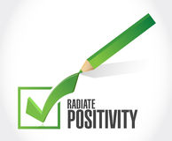 Radiate Positivity check mark sign concept. Illustration design over white Royalty Free Stock Image