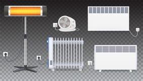 Radiateur électrique d'huile, appareil de chauffage avec la fan, panneau du radiateur, appareil de chauffage d'halogène de quartz illustration stock