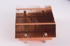 Radiateur de cuivre utilisé pour refroidir le microprocesseur des élém. Photo libre de droits