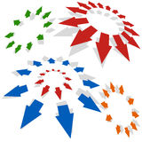 Radiating Arrows. Arrows radiating outward isolated on a white background Stock Images