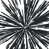 Radiating from the center of thin beams, lines. Vector illustration. Icon black on white. Dynamic style. Abstract explosion, speed motion lines from the middle Royalty Free Stock Images