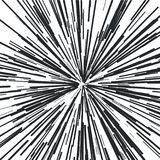 Radiating from the center of thin beams, lines. Vector illustration. Icon black on white. Dynamic style. Abstract explosion, speed motion lines from the middle Stock Photography