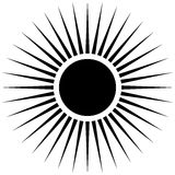 Radiating circular lines abstract monochrome symbol on white (Ca. N be used as a symbol or background Stock Image