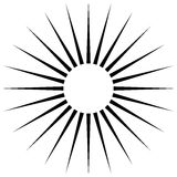 Radiating circular lines abstract monochrome symbol on white (Ca. N be used as a symbol or background vector illustration
