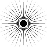 Radiating circular lines abstract monochrome symbol on white (Ca. N be used as a symbol or background Royalty Free Stock Image
