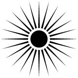 Radiating circular lines abstract monochrome symbol on white (Ca. N be used as a symbol or background stock illustration