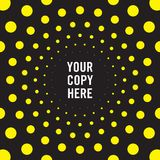 Radiating dot pattern background in black and yellow. Radiating dot pattern background wallpaper in black and yellow stock illustration