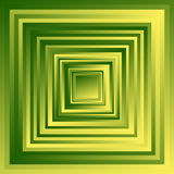 Radiating overlapping square shapes with random gradient fills. Royalty Free Stock Photo
