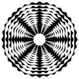 Radiating / radial abstract circular geometric element. Abstract. Black and white shape - Royalty free vector illustration vector illustration