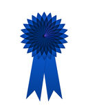 Radiating rosette blue first place. Blue ribbon with radiating rosette for first place achievement isolated on white Royalty Free Stock Images