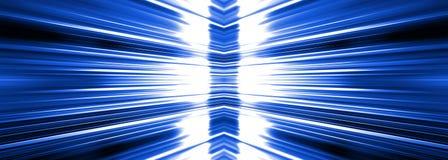 Radiating white light burst on blue banner Stock Photography