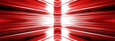 Radiating white light burst on red banner Stock Photo