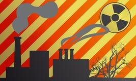 Radiation. Illustration of a radiation with factories stock illustration