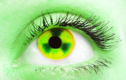 Radiation. Female eye with the pupil as a sign of radiation stock photography