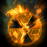 Radiation. Burning radioactive danger sign. 3d image Royalty Free Stock Images