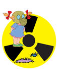 Radiation. The girl in a gas mask on a background of a sign radiation Royalty Free Stock Photography