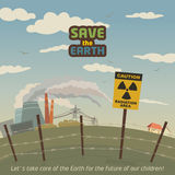 Radiation area landscape around nuclear power plant. Save the Earth eco poster Stock Photos