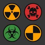 Radiation Biohazard Death Quarantine. Set Signs. Danger Objects. Vector illustration. Set Icons Stock Image