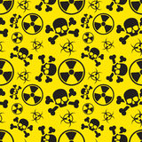 Radiation and biological hazard danger signs on yellow, seamless pattern. Radiation and biological hazard danger signs on yellow, warning seamless pattern Stock Photos