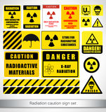 Radiation caution sign set Stock Photography