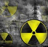 Radiation danger. With grunge background stock image