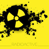 Radiation danger warning background. With abstract blots and radiation sign Stock Photography