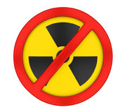 Radiation Forbidden Sign Isolated. On white background. 3D render Royalty Free Stock Photography