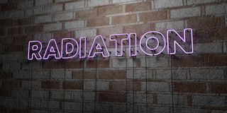 RADIATION - Glowing Neon Sign on stonework wall - 3D rendered royalty free stock illustration Stock Image