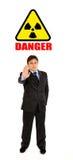 Radiation hazard! Businessman showing stop gesture. Ð¡oncept-radiation hazard! Full length portrait of confident businessman showing stop gesture isolated on stock photo