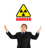 Radiation hazard! Sad businessman looking up. Concept-radiation hazard! Sad businessman looking up and raising his hands isolated on white royalty free stock photos