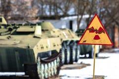 Radiation hazard sign. With tanks stock photo