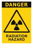 Radiation hazard symbol sign radhaz alert icon. Radiation hazard symbol sign of radhaz threat alert icon, black yellow triangle signage text isolated Stock Photography