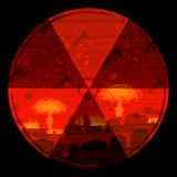 Radiation hazard warning sign. Against nuclear war background (other landscapes are in my gallery Royalty Free Stock Photography