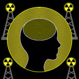 Radiation and Human Brain Royalty Free Stock Photo