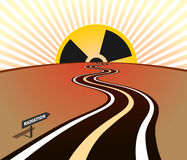 Radiation infection road horizon sunrise Stock Photos