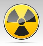 Radiation. Isolated  radiation sign (symbol) with shadow Stock Images
