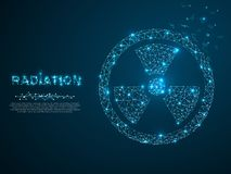 Radiation. Low poly wireframe illustration style. Vector polygonal image with destructing shapes. Radiation. Low poly wireframe illustration style. Vector vector illustration