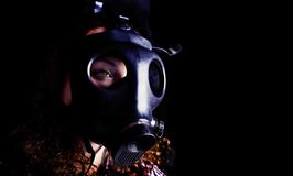 Radiation mask. On a black background terrible Royalty Free Stock Images