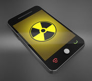 Radiation and mobile phone. 3d render Royalty Free Stock Photos